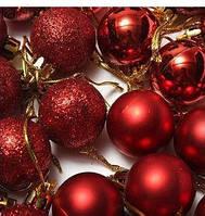 """Набор """"Шарик новогодни КРАСНЫЙ""""Шарики новогодние Ø3см. 6 шт.(пластик), фото 1"""