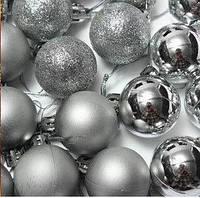"Набор ""Шарик новогодни СЕРЕБРИСТЫЙ""_Ø3см. 6 шт.(пластик)"