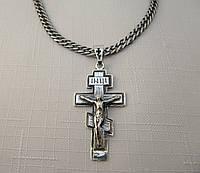 Крест православный серебряный 925* черненый с распятием