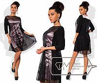 Двуслойное платье-трапеция с прозрачной сеткой