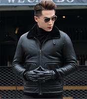 Мужская зимняя кожаная куртка Модель 1045