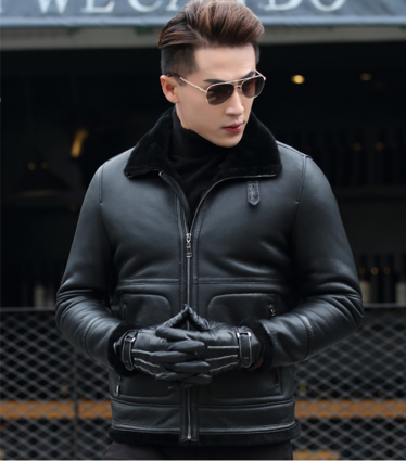28dfb893c5311 Мужская зимняя кожаная куртка Модель 1045 - Интернет-магазин