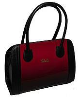 Каркасная сумка B.Elit, чёрная с красной лаковой вставкой