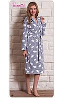 Женский халат домашний теплый длинный.