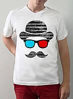 """Мужская футболка """"Лицо в 3д очках"""""""