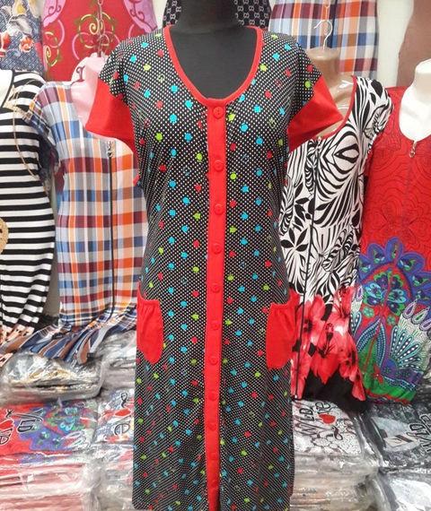 Летний женский халат увеличенного размера цветной горох