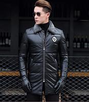 Мужская зимняя кожаная куртка. Модель 1047