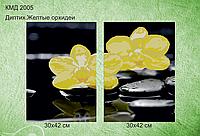 Схема для вышивки бисером Диптих.Отражение.Желтая орхидея