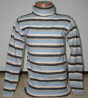 Гольф полоска  для мальчика от 2 до 7лет голубой с серым