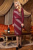 Оригинальный комплект пиджака и платья с дизайнерским декором , бордовый