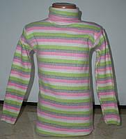 Гольфик полоска для девочки с 4 до 8 лет розовый с салатовым