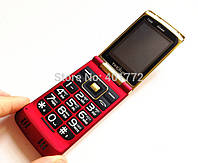Раскладной телефон с большими кнопками Tkexun T688 на 2 сим металлический корпус
