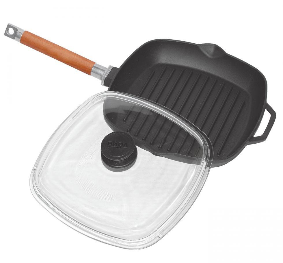 Сковорода гриль с стеклянной крышкой чугунная 26см. БИОЛ 1026С