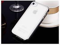 Прозрачный силиконовый чехол с глянцевым ободком для Apple iPhone 4/4S серой
