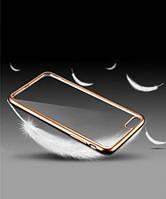 Прозрачный силиконовый чехол с глянцевым ободком для Apple iPhone 4/4S золотой