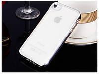 Прозрачный силиконовый чехол с глянцевым ободком для Apple iPhone 4/4S серебряной