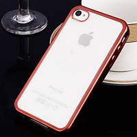 Прозрачный силиконовый чехол с глянцевым ободком для Apple iPhone 4/4S розовой