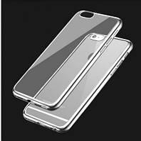 """Прозрачный силиконовый чехол с глянцевым ободком для Apple iPhone 6/6s (4.7"""") серебряный"""