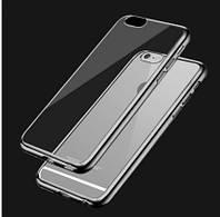 """Прозрачный силиконовый чехол с глянцевым ободком для Apple iPhone 6/6s (4.7"""") серый"""