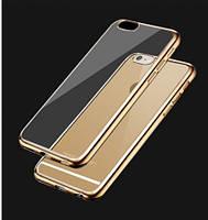 """Прозрачный силиконовый чехол с глянцевым ободком для Apple iPhone 6/6s (4.7"""") золотой"""