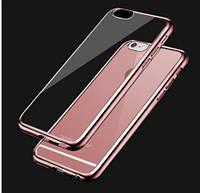 """Прозрачный силиконовый чехол с глянцевым ободком для Apple iPhone 6/6s (4.7"""") розовой"""