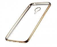 Прозрачный силиконовый чехол с глянцевым ободком для Meizu M2 / M2 mini золотой
