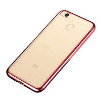 Прозрачный силиконовый чехол с глянцевым ободком для Xiaomi Mi Max розовый