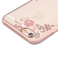 """Прозрачный силиконовый чехол с цветами и стразами для Apple iPhone 6/6s (4.7"""") (Розовый)"""