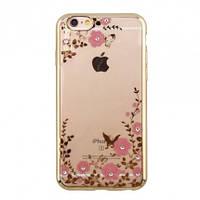 """Прозрачный силиконовый чехол с цветами и стразами для Apple iPhone 6/6s (4.7"""") (Золотой)"""