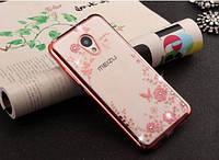 Прозрачный силиконовый чехол с цветами и стразами для Meizu M3e (Розовый)