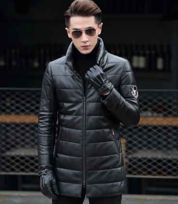 Мужская  кожаная куртка. Модель 1046