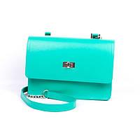 Кожаная женская сумка-портфель Valenta зеленого цвета