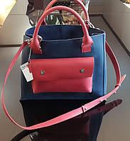 Оригинальная женская сумка Valenta из натуральной кожи комбинированная сине-красная