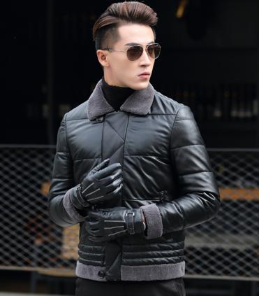 Мужская весенняя кожаная куртка. Модель 1049