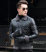 Мужская зимняя кожаная куртка. Модель 1049