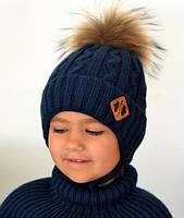 Зимняя шапка на флисе для мальчика, синий, балабон искусственный Енот (ОГ 48-52, 52-56)
