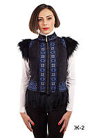 Модная женская жилетка теплая №3 из искусственного дубляжа с  натуральным мехом козы