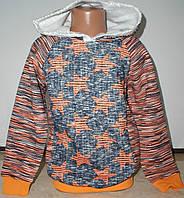 Батник для девочки трехниткас капюшоном с 9 до 12 лет оранжевый