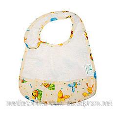 Детский слюнявчик с кармашком ЭКО ПУПС Classic, 21x30, молочный