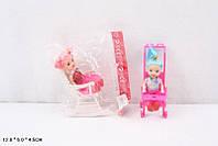 Кукла маленькая 9905B 2 вида, с коляской, в пакете 12*6*4,5см