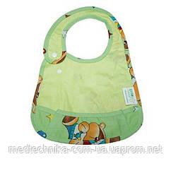 Детский слюнявчик с кармашком ЭКО ПУПС Premium, 21x30, зелёный