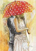 Схема для вышивки бисером Осенний роман под зонтом-1