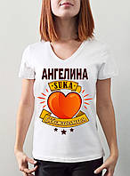 """Женская именная футболка """"Ангелина suka обожаемая"""""""