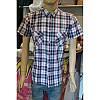 Рубаха с короткими рукавами  в фиолетовую с серым клетку