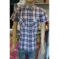 Рубаха с короткими рукавами  в фиолетовую с серым клетку, фото 1