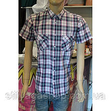 Рубаха с короткими рукавами  в фиолетовую с серым клетку хлопок
