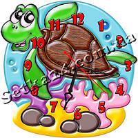 Часы настенные в детскую фигурные Черепаха (30х30 см)