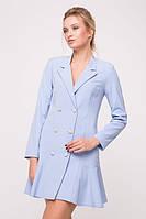 Платье с жемчужными пуговицами SOLI голубое