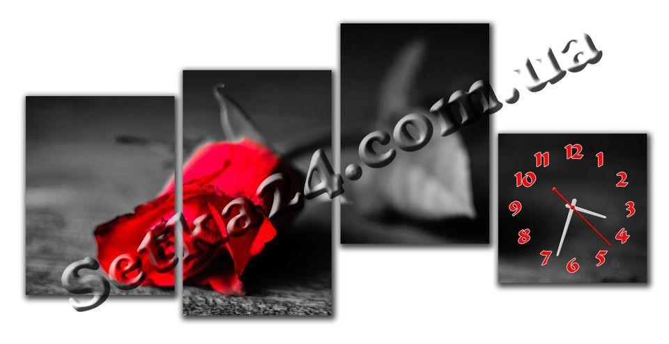 """Часы настенные модульные """"Красная роза"""" (120х50 см) М95"""
