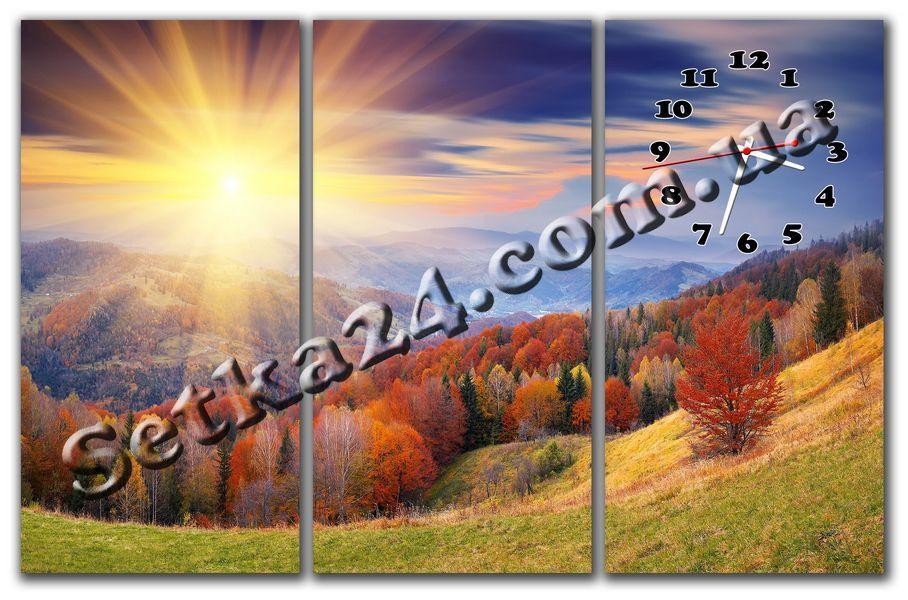 "Часы настенные модульные ""Осень в Карпатах"" (90х60 см) М110"